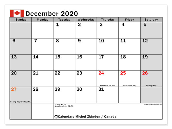 Printable calendars, December 2020, Public Holidays