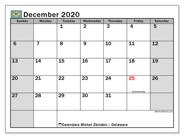 December 2020 Calendar, with the holidays of Delaware. Free printable calendar with public holidays.