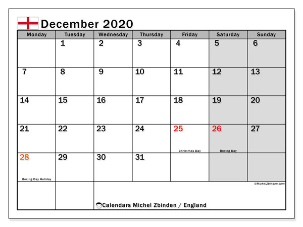 December 2020 Calendar, with the holidays of England. Free printable calendar with public holidays.