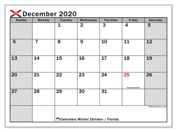 Calendar December 2020 - Florida. Public Holidays. Monthly Calendar and free schedule to print.