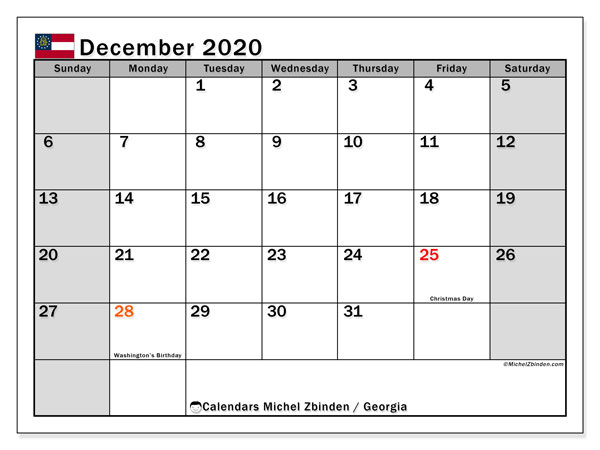 December 2020 Calendar, with the holidays of Georgia. Holidays calendar to print free.