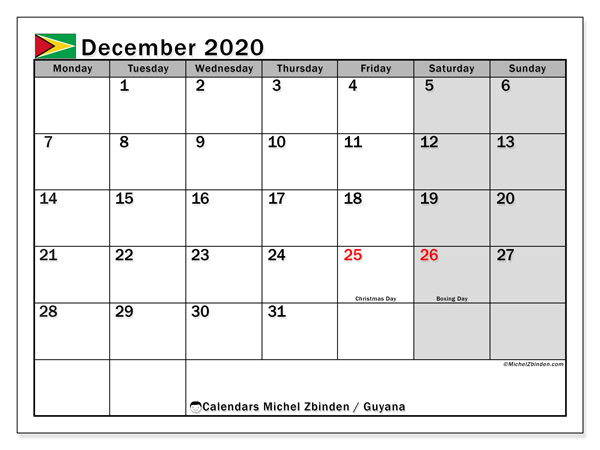 Calendar December 2020 - Guyana. Public Holidays. Monthly Calendar and free planner to print.