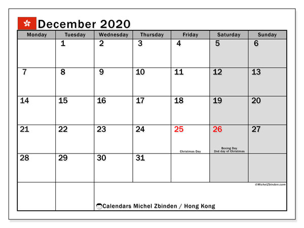 "Calendar ""Hong Kong"" with public holidays, December 2020, ready to print."