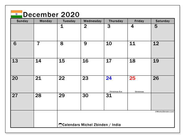 December 2020 Calendar, with the holidays of India. Free printable calendar with public holidays.