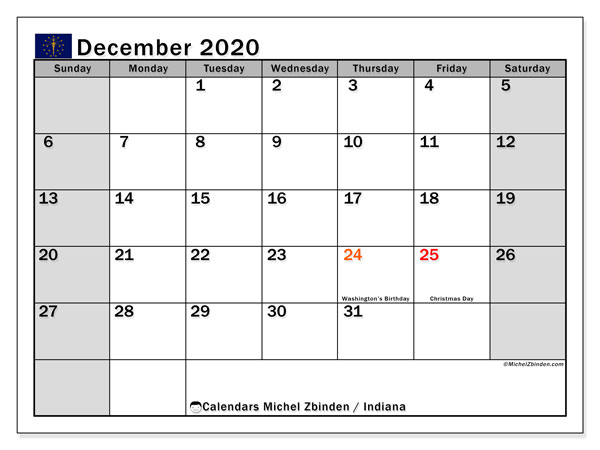 December 2020 Calendar, with the holidays of Indiana. Free printable calendar with public holidays.