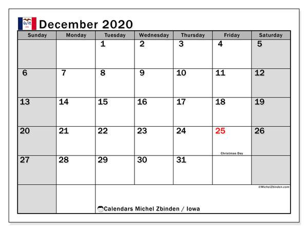 December 2020 Calendar, with the holidays of Iowa. Holidays calendar to print free.