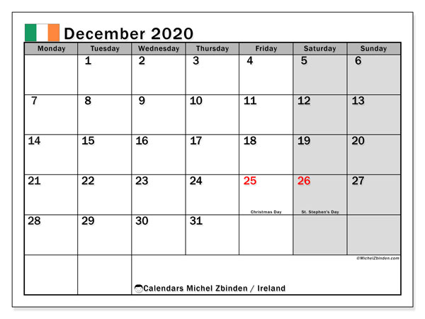December 2020 Calendar, with the holidays of Ireland. Free printable calendar with public holidays.