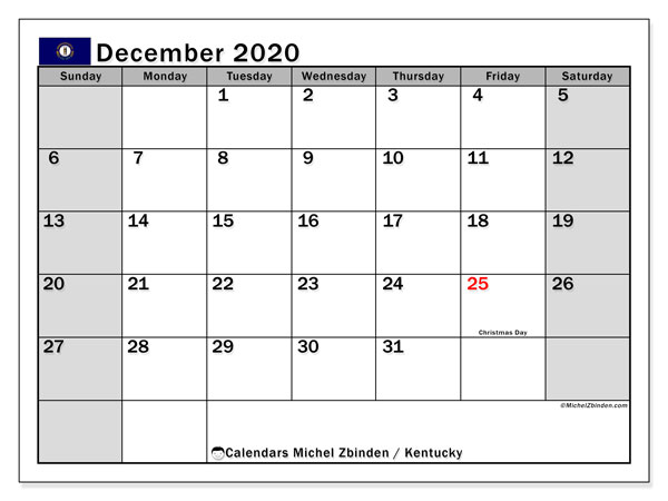 Calendar December 2020 - Kentucky. Public Holidays. Monthly Calendar and free printable timetable.