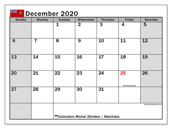 December 2020 Calendar, with the holidays of Manitoba. Holidays calendar to print free.