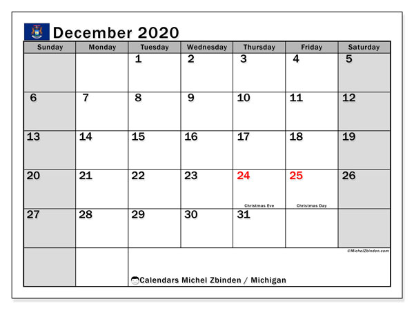 Calendar December 2020 - Michigan. Public Holidays. Monthly Calendar and schedule to print free.