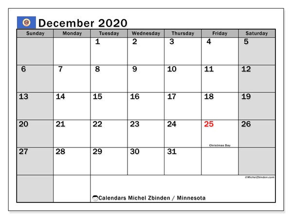 December 2020 Calendar, with the holidays of Minnesota. Holidays calendar to print free.