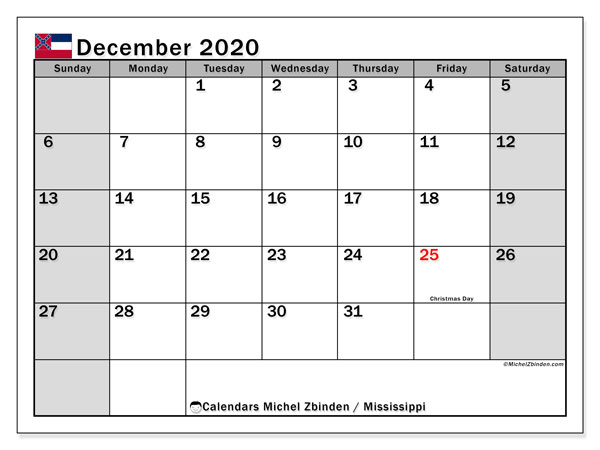 December 2020 Calendar, with the Mississippi holidays. Holidays calendar to print free.