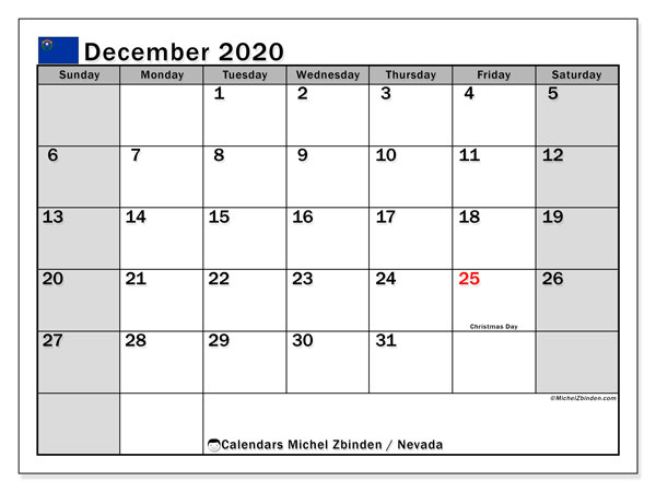 December 2020 Calendar, with the holidays of Nevada. Holidays calendar to print free.