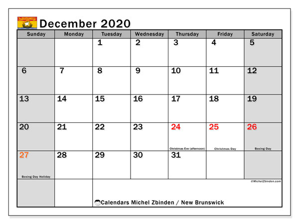 December 2020 Calendar, with the holidays of New Brunswick. Free printable calendar with public holidays.