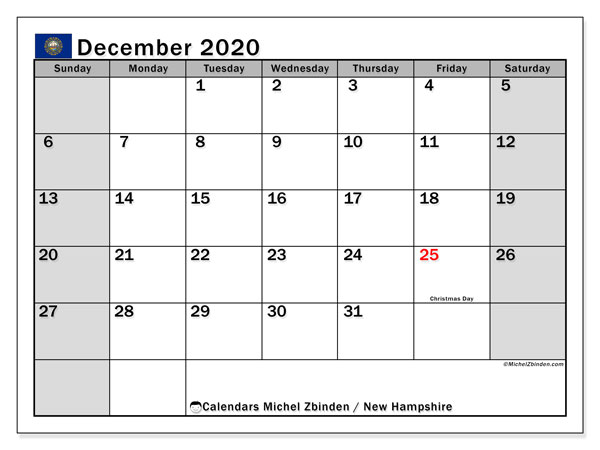 December 2020 Calendar, with the holidays of New Hampshire. Free printable calendar with public holidays.