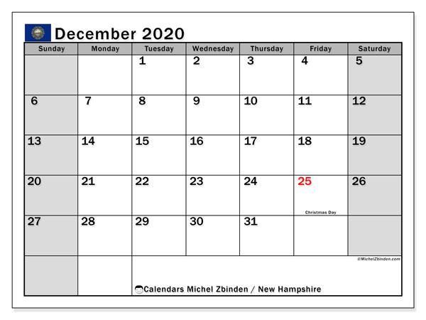 December 2020 Calendar, with the holidays of New Hampshire. Holidays calendar to print free.