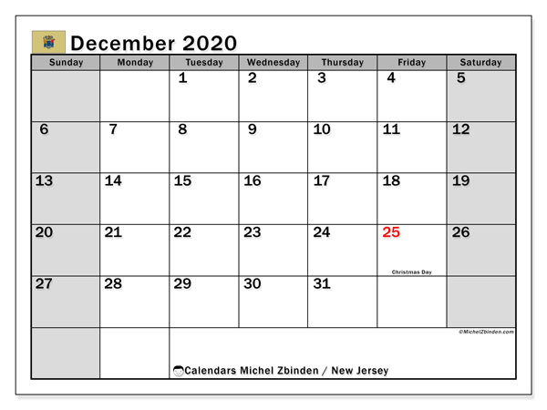 December 2020 Calendar, with the holidays of New Jersey. Free printable calendar with public holidays.