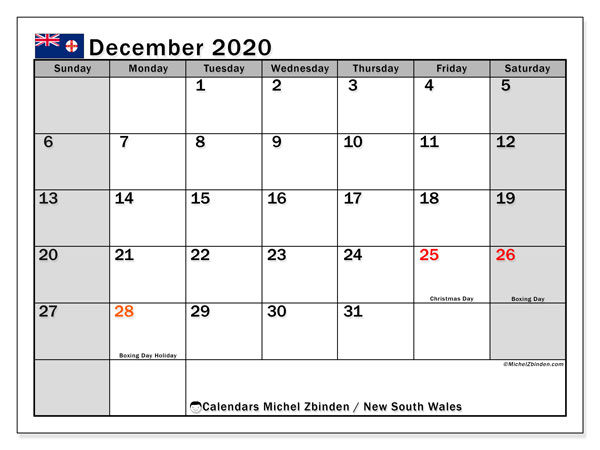 December 2020 Calendar, with the holidays of New South Wales. Holidays calendar to print free.