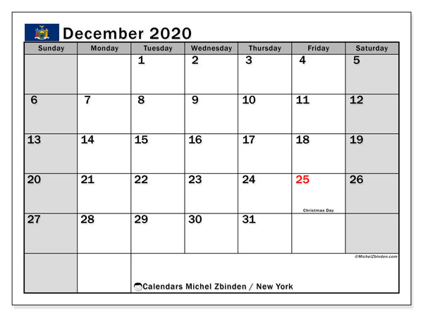 December 2020 Calendar, with the holidays of New York. Holidays calendar to print free.