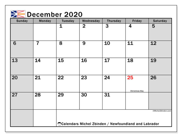 December 2020 Calendar, with the holidays of Newfoundland and Labrador. Holidays calendar to print free.