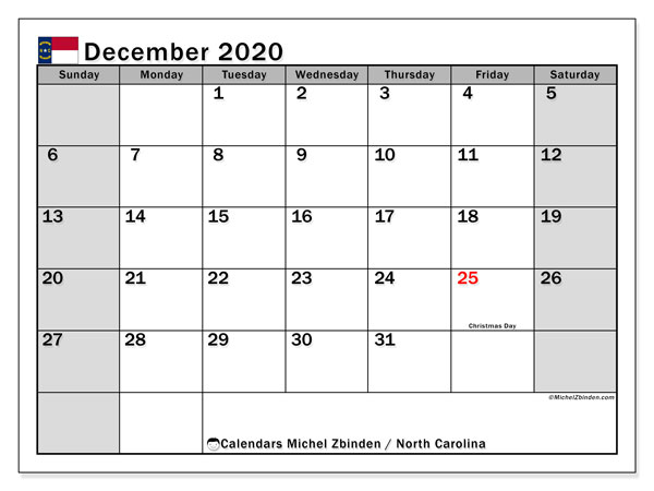 December 2020 Calendar, with the holidays of North Carolina. Holidays calendar to print free.