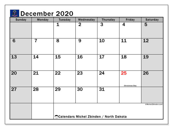 December 2020 Calendar, with the holidays of North Dakota. Holidays calendar to print free.