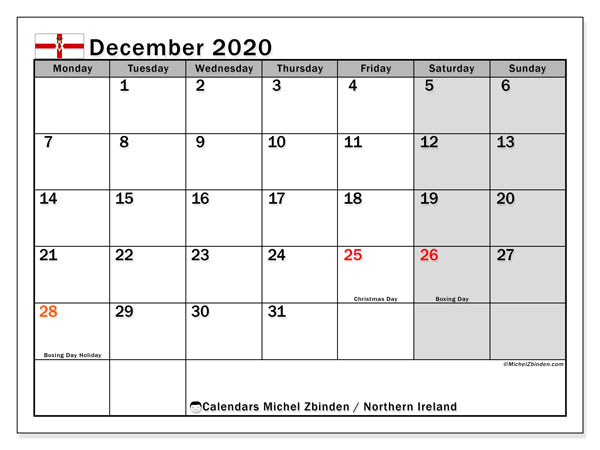 Calendar December 2020 - Northern Ireland. Public Holidays. Monthly Calendar and free printable timetable.