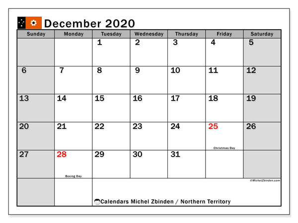 Calendar December 2020 Northern Territory Michel Zbinden En