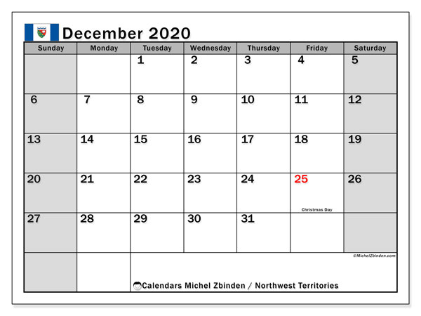December 2020 Calendar, with the holidays of Northwest Territories. Free printable calendar with public holidays.