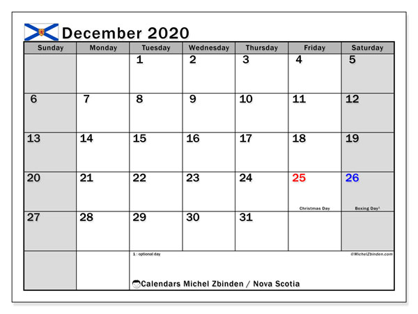 December 2020 Calendar, with the holidays of Nova Scotia. Free printable calendar with public holidays.