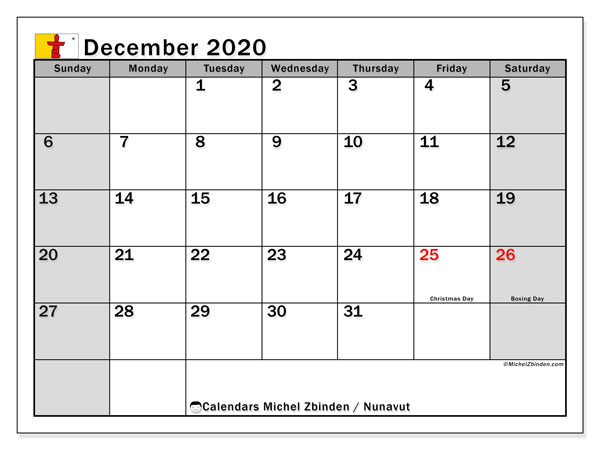 "Calendar ""Nunavut"" with public holidays, December 2020, ready to print."