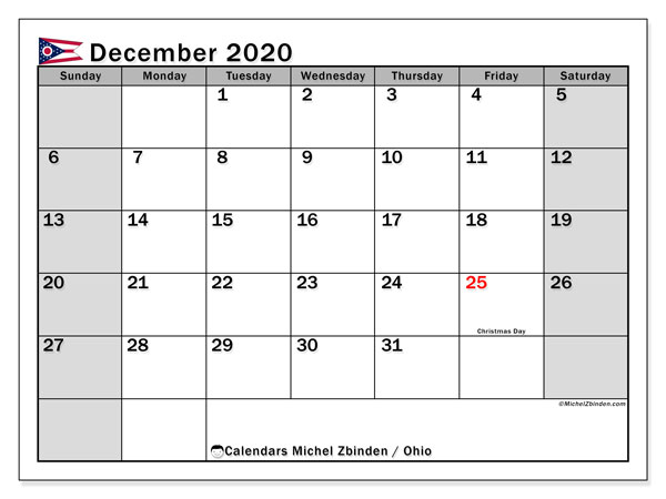 December 2020 Calendar, with the holidays of Ohio. Free printable calendar with public holidays.