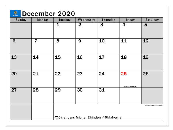 December 2020 Calendar, with the holidays of Oklahoma. Free printable calendar with public holidays.