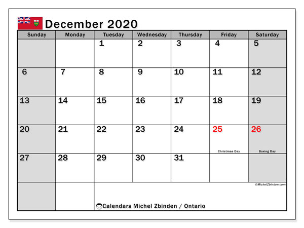 December 2020 Calendar, with the holidays of Ontario. Free printable calendar with public holidays.