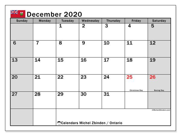 December 2020 Calendar, with the holidays of Ontario. Holidays calendar to print free.