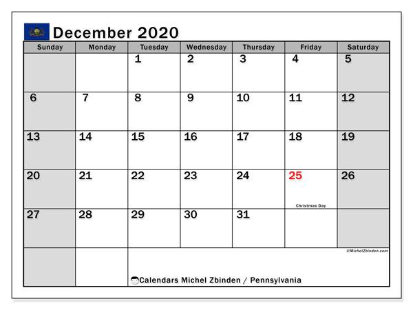December 2020 Calendar, with the holidays of Pennsylvania. Free printable calendar with public holidays.