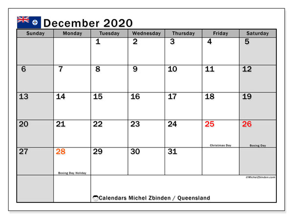 December 2020 Calendar, with the holidays of Queensland. Holidays calendar to print free.