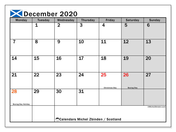 Calendar December 2020, with the holidays of Scotland. Monthly calendar to print free.