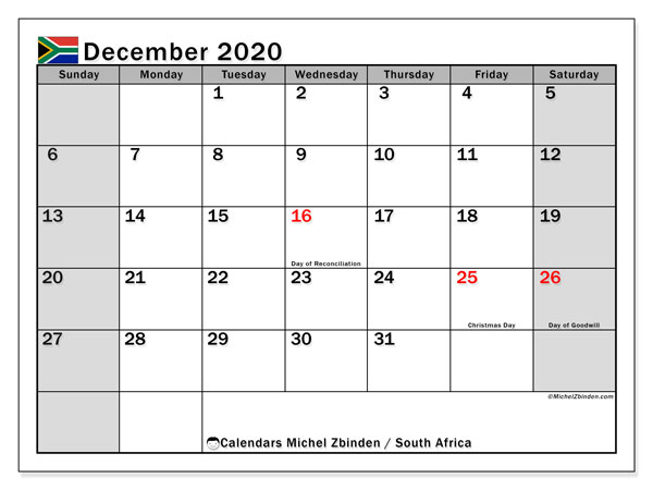 December 2020 Calendar, with the holidays of South Africa. Free printable calendar with public holidays.
