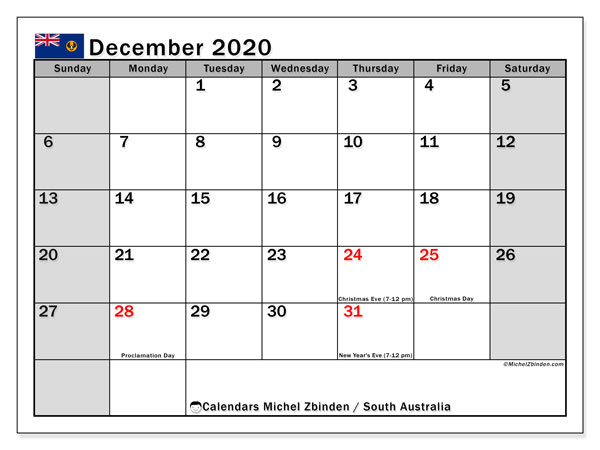 December 2020 Calendar, with the holidays of South Australia. Holidays calendar to print free.
