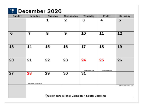 December 2020 Calendar, with the holidays of South Carolina. Free printable calendar with public holidays.