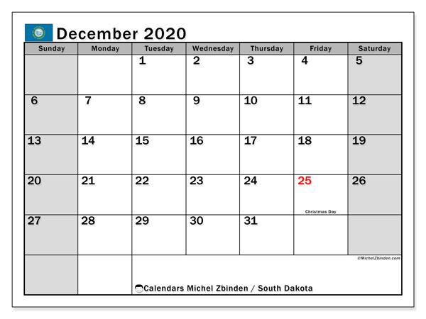 December 2020 Calendar, with the holidays of South Dakota. Holidays calendar to print free.