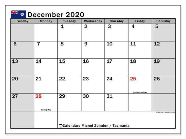 December 2020 Calendar, with the holidays of Tasmania. Free printable calendar with public holidays.