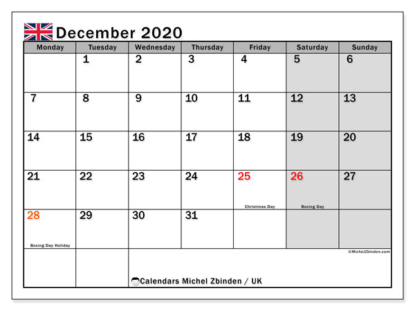 December 2020 Calendar, with the holidays of UK. Free printable calendar with public holidays.