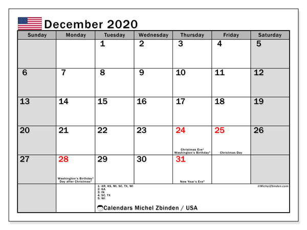 Calendar December 2020 - USA. Public Holidays. Monthly Calendar and schedule to print free.