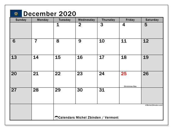 Calendar December 2020 - Vermont. Public Holidays. Monthly Calendar and free agenda to print.