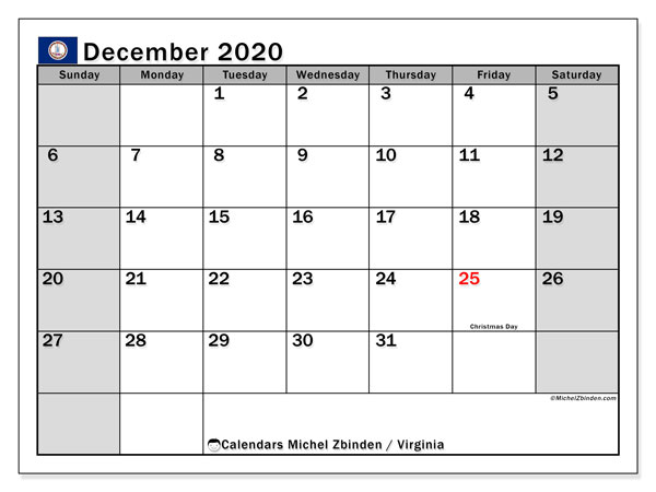 December 2020 Calendar, with the holidays of Virginia. Free printable calendar with public holidays.