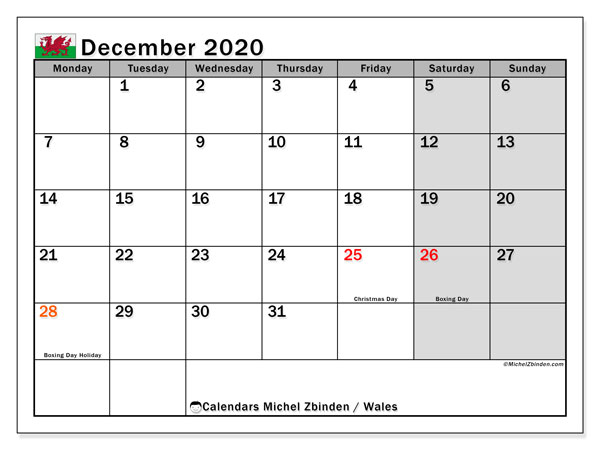 December 2020 Calendar, with the holidays of Wales. Holidays calendar to print free.