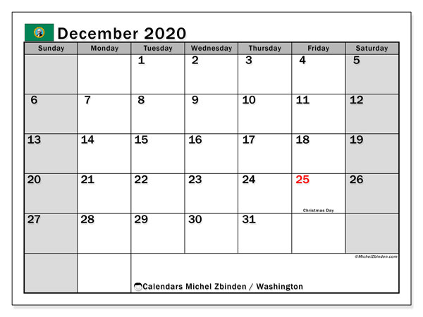 December 2020 Calendar, with the holidays of Washington. Holidays calendar to print free.