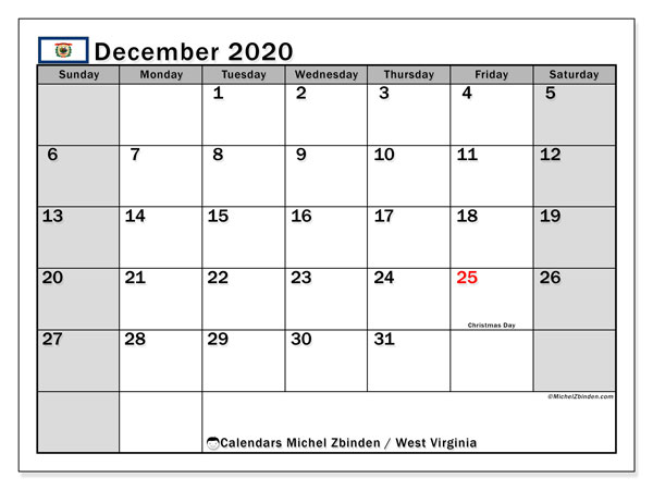 December 2020 Calendar, with the holidays of West Virginia. Free printable calendar with public holidays.